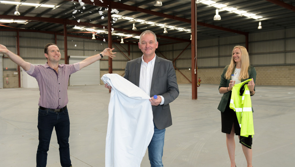 Deputy Mayor Jon Raven with BlocTexx co-founder Graham Ross and local Councillor Miriam Stemp at the company's new headquarters in Loganholme.